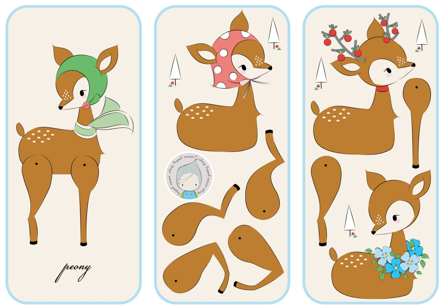 Deer-Paper-Doll-10x21-full-set